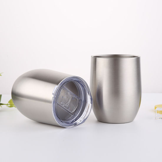 Outdoor 12 Oz Double Wall Insulated Vacuum Stainless Steel Stemless Wine Glass Tumbler Travel Cup with BPA Free Lid for Camping