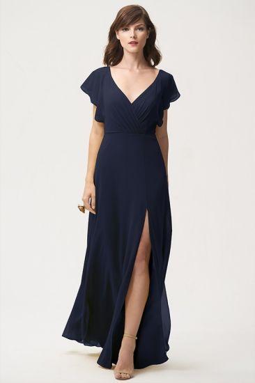 V-Neck High Split Flatter Sleeves Bridesmaid Dress Mother Dress for Wedding
