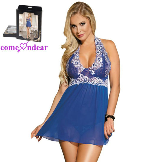 178f7ae5d China Wholesale Cheap Halter Paypal Accepted Blue Floral Women Sexy Babydoll  - China Babydoll