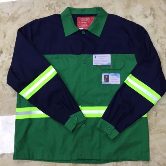 65% Polyester and 35% Cotton Mixed Color Fabric Work Uniform with Reflective Tape for Construction Workers