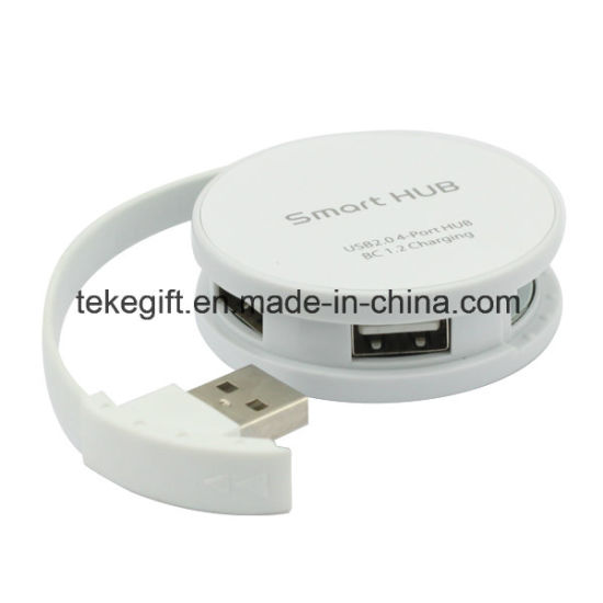 Round 4-Port USB2.0 USB Hubs Built-in Retractable Cable Fast Data Transportation Speed 5gbps, Support Hot Swapping