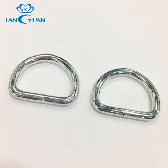 Wholesale Custom Nickel Open D Ring Meta Hook Metal Ring for Bag