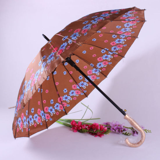 Wholesale Economical Advertising Flower Printed Cheap Long Handle Umbrella