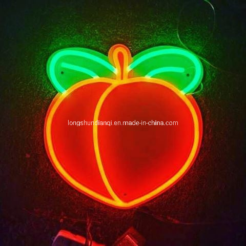 China USB Version 2D Peach Sign LED Neon Light Hanging Wall Night