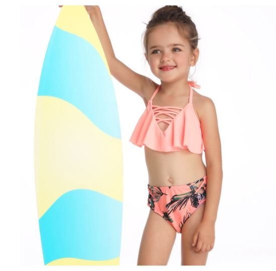 Halter Flounce Family Matching Swimwear Strappy Bottom Bikini for Girls