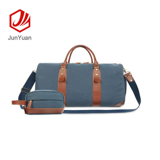 Junyuan Large Duffle Bag Canvas Leather Weekender Overnight Travel Carry on Tote Bag