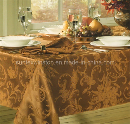 100%Polyester Solid Jacquard Tablecloth with Napkins pictures & photos