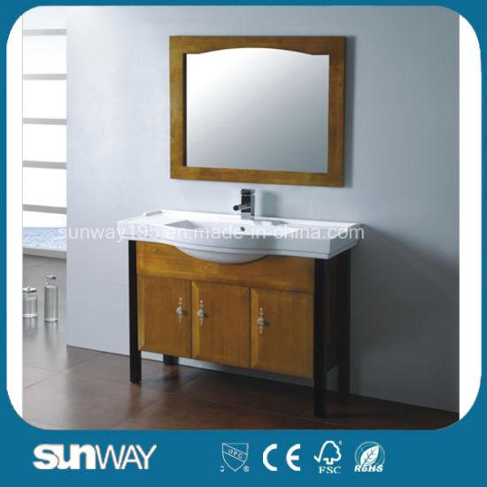 Waterproof Wooden Bathroom Cabinet Vanity Wood Furniture Sw-Wd1022L
