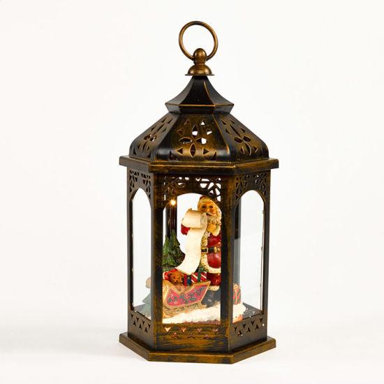 Battery Operated Table Decor Light up Santa Sleigh Figurine Christmas Antique Plastic LED Lantern