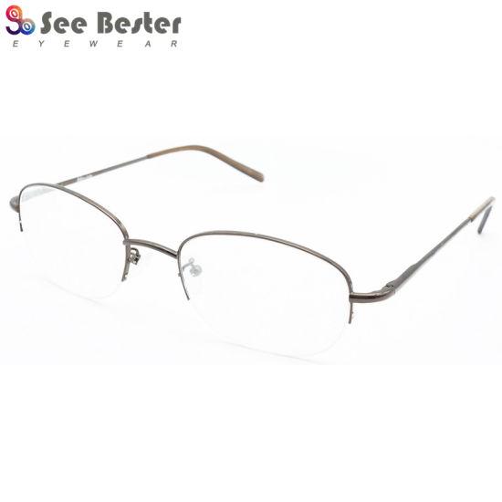 China OEM Stainless Steel Eyeglasses Trendy Brown Half Rim Optical ...