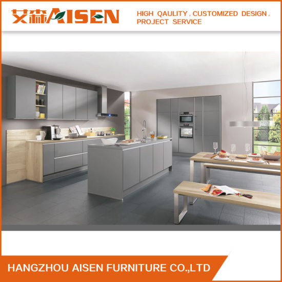 China Hot Selling Metallic Grey Color Wooden Kitchen Cabinet ...
