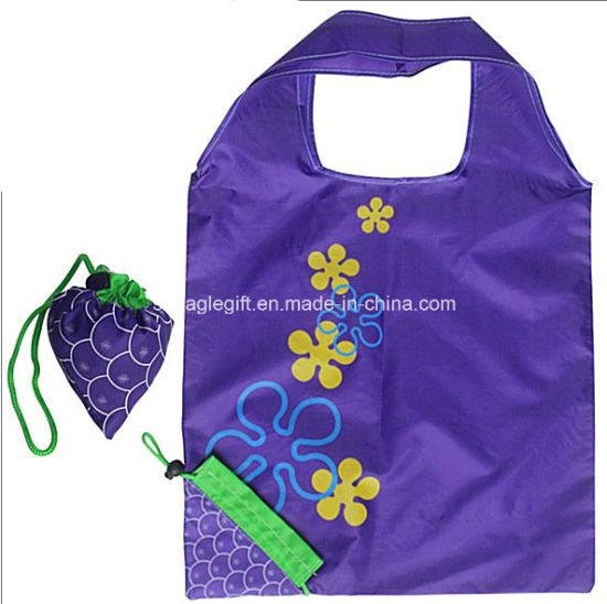 Personalized 210t Polyester Vest Shape Folding Bag with Drawstring Pouch Inside pictures & photos