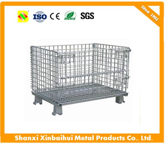 Folding Stackable Wire Mesh Metal Storage Stacking Container Storage Cage