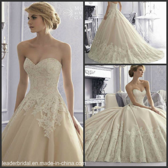 Sweetheart Ball Gown Cream Lace Tulle Bridal Wedding Dress Wdo62