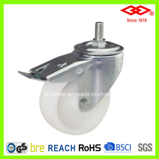 150mm Swivel Screw with Brake Plastic Castor (L101-30D150X40AS)