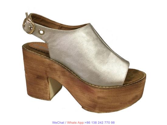 2322de020701 China Women′s Peep-Toe Gold Platform Wedge Sandals High Heel Shoes ...