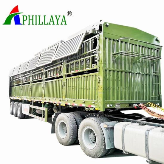 3 Axle 50 Tons Livestock Animal Transport Trailer with Tent Crossgirders (06) pictures & photos