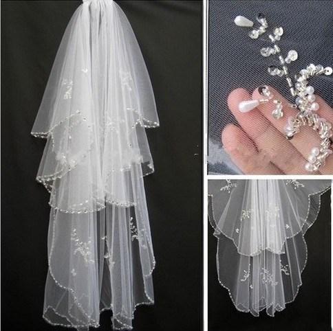 White/Ivory Beading Sequins Edge Soft Tulle Bridal Wedding Veils