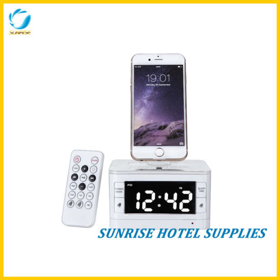 Hotel Bluetooth Function Alarm Clock Docking Station pictures & photos