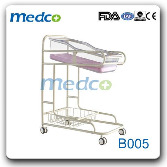 Hospital Movable Infant Bed Baby Cot, Medical Metal Adjustable Baby Crib
