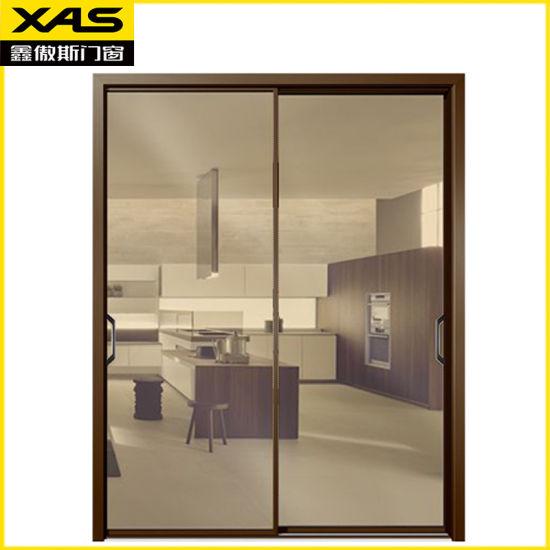China Narrow Frame Brown Aluminum Alloy Glass Patio Door China Aluminium Door Silding Door