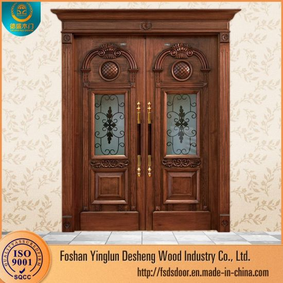 China Desheng Latest Design Main Entrance Wooden Doors Prices
