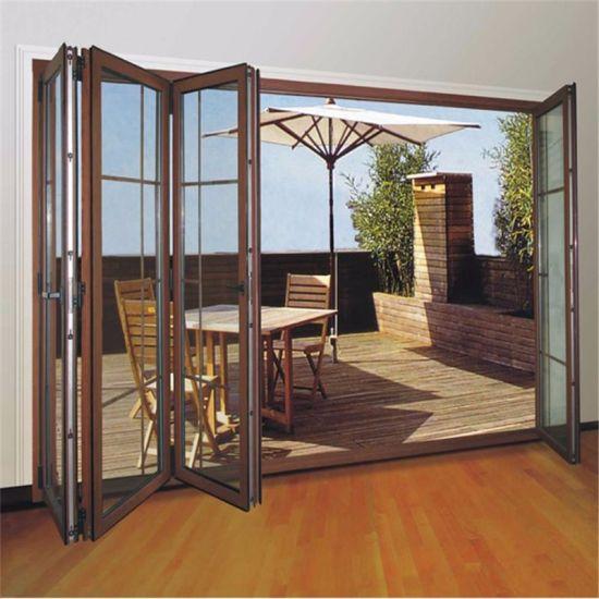 China Aluminum Alloy Panoramic Doors Aluminum Frame Glass Folding