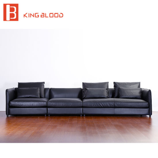 Italy 7 Seater Sectional Pure Black Leather Corner Sofa