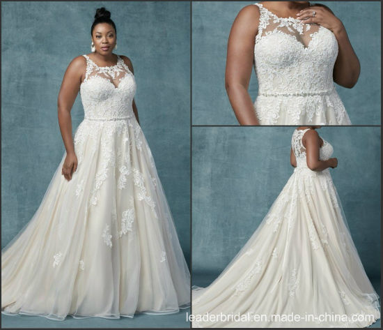 China Champagne Lace Bridal Dress Plus Size A Line Wedding Gowns