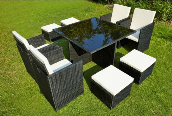 9 PCE Dining Set Table & Chairs Wicker Rattan Outdoor Leisure Garden Furniture