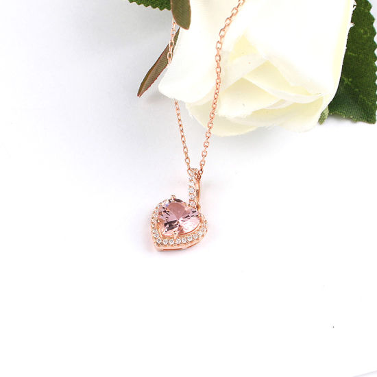 Silver Jewelry S925 Heart Shape Morganite Necklace pictures & photos