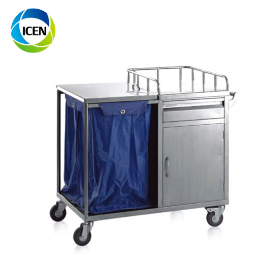 IN-681 Low Price High Quality 3 Layers Stainless Steel Trolley Hospital Instrument Cart