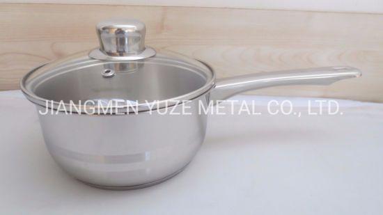 Wholesales Stainless Steel Saucepan, Milk Pan, Cooking Pot with Glass Lid, Kitchen Utensils