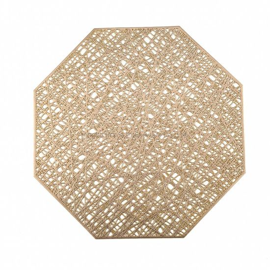 in Stock Octagonal Non Slip Placemats Hollow out Vinyl Mats Kitchen Table Mats, Aet of 4