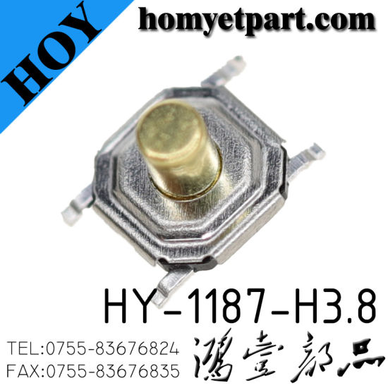 High Quality SMD Tact Switch with 5.2*5.2*1.7mm 4pin (HY-1187-H1.7) pictures & photos