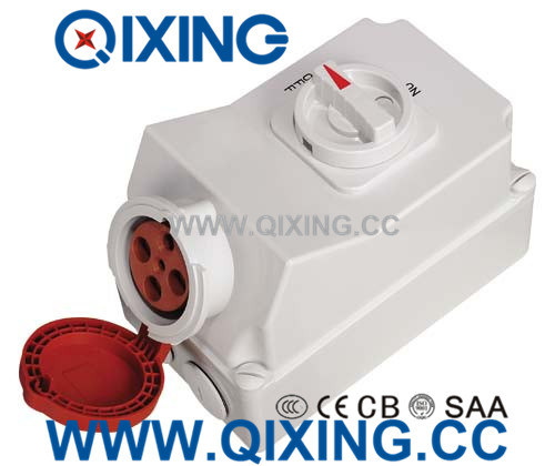 IP44 16A 4p Red Industrial Switch Socket Machine