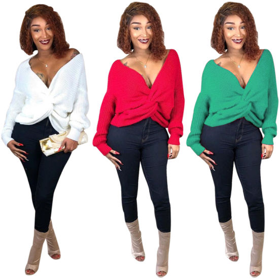 Fashion Solid Color Long Sleeve Crop Top V Neck Women Oversized Sweater