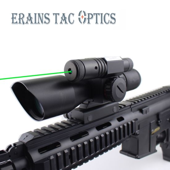 Compact 2.5-10X40 Riflescope Red Green Mil-DOT Reticle Attached Green Laser with Standard Weaver Rail Mount pictures & photos