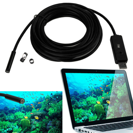 USB Endoscope 7mm Lens 5m Cable Waterproof 6 LED Borescope Tube Inspection Video Photo Capture Mini Camera pictures & photos