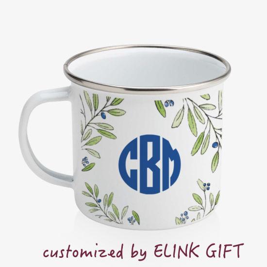 Customized Printing Enamel Mugs Coffee Mugs Tea Cups Drinking Mugs with Smooth Stainless Steel Edge