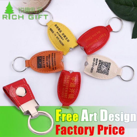 Custom LED Leather Keychain Keyring as Promotional Souvenirs