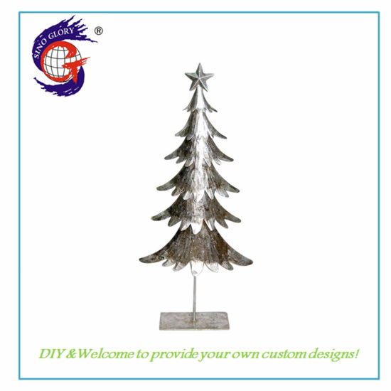 Handmade Iron Metal Christmas Tree Sculptures House Ornaments for Indoor Christmas Wedding Holiday Decoration Gift