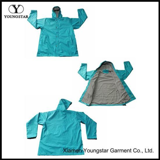 PU Knit Fashion Rain Jacket Women's PU Raincoat