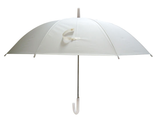 Straight Poe Clear Plastic White Translucent Umbrella with Printed Popular