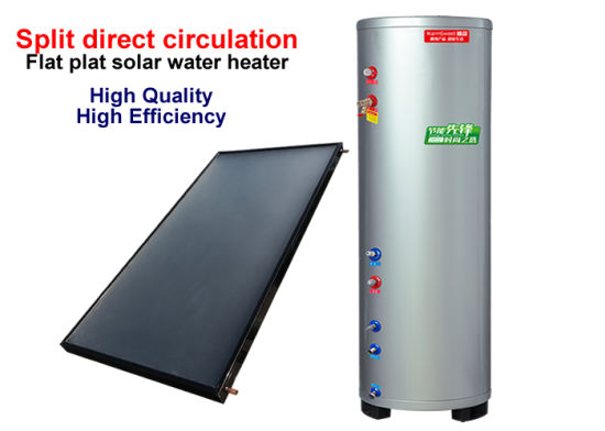 Split Solar Water Heater with Flat Plate Solar Collector and Pressurized Water Tank Under Directed Open Loop or Indirected Closed Loop Circulations