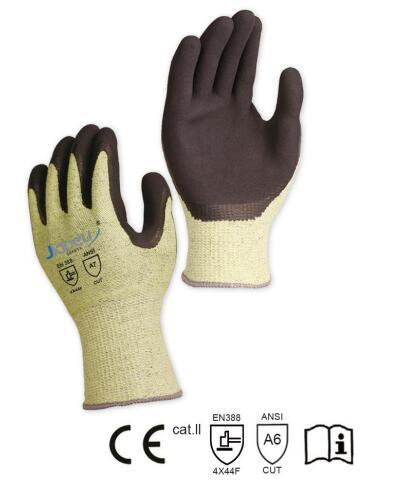 13 Gauge Green ANSI Cut Level A6/ ISO 13997 Cut Level F Gloves, with Black Sandy Latex Coating on Palm