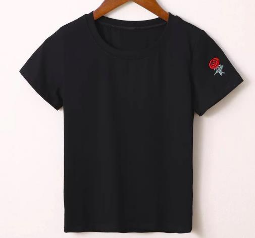 Black Embroidered Sleeve T-Shirt