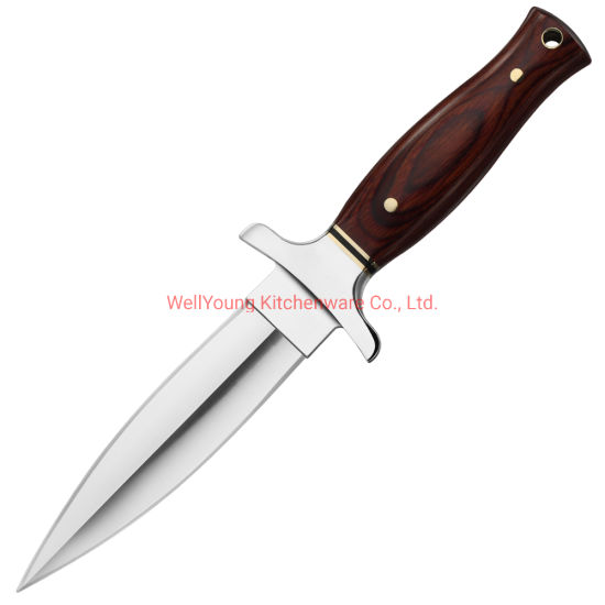 Stainless Steel Fixed Blade Outdoor Survival Knife with Wood Handle - Fine Edge (WY-D-013)