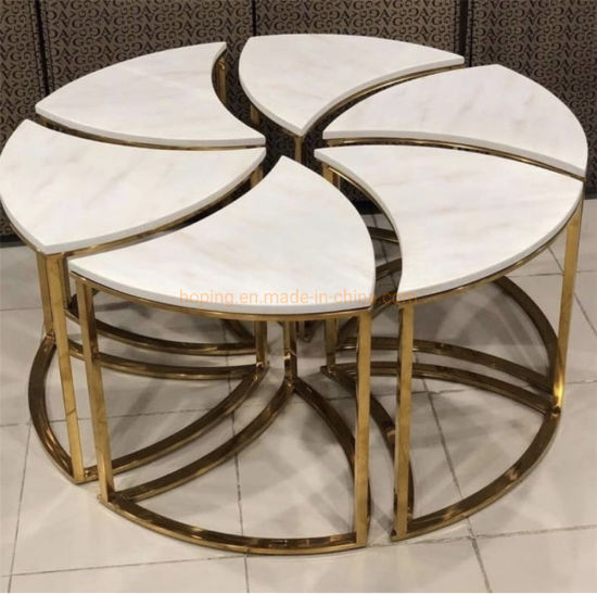 China Modern Square Silver Coffee Table, Small Round Metal And Glass Coffee Table
