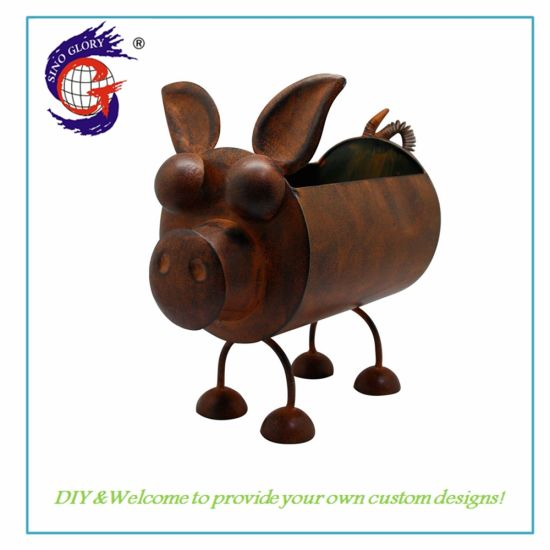 Handmade Metal Home Garden Decoration Pig Shape Flower Pot